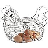 NiceButy Huhn Design Draht Eierkorb praktisch gewebt Ei Rack Küche Restaurant Silber Haushaltsprodukte
