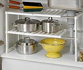 Kumaka Stainless Steel Household multipurpose adjustable Sink Shelf Retractable Storage Rack
