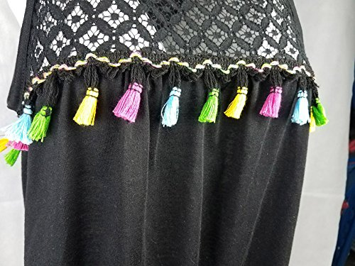 Femmes Sans Manches Tassel Vest Tops Shirt Blouse Débardeurs Casual Noir