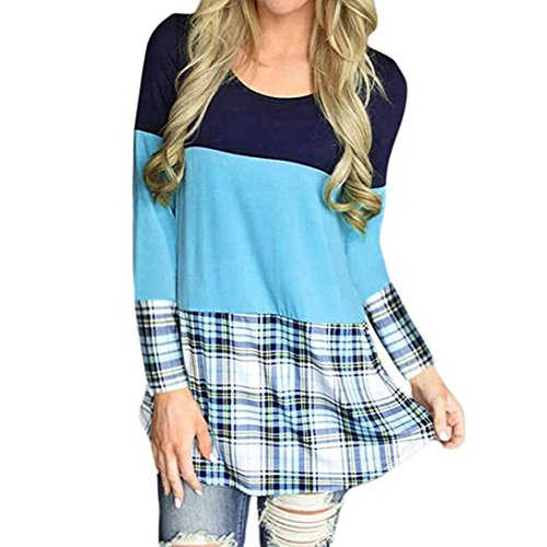 Longra Damen Bluse Festliche Blusen Spitzeblusen Karierte Bluse Damen Schöne Kleider Elegante Oberteile Damenmode Tunika Hemdblusen Blusenshirt Langarmshirt T-Shirts Tops (Sky Blue, L) (Shirt Belted Tunika)