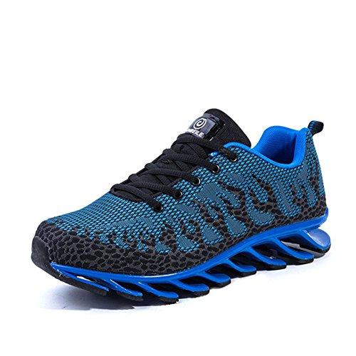 Wywq Chaussures De Course Hommes Loisirs Sneakers Respirant Sneakers Confort Automne Hiver Tissu Trekking Chaussures Plat Basketball Talon Bleu