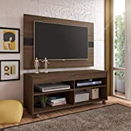 Artely Cross TV Table and Wall Panel for 47 inch TV, Walnut Brown with Black, Panel: W 120cm x D 3 cm x H 73.5