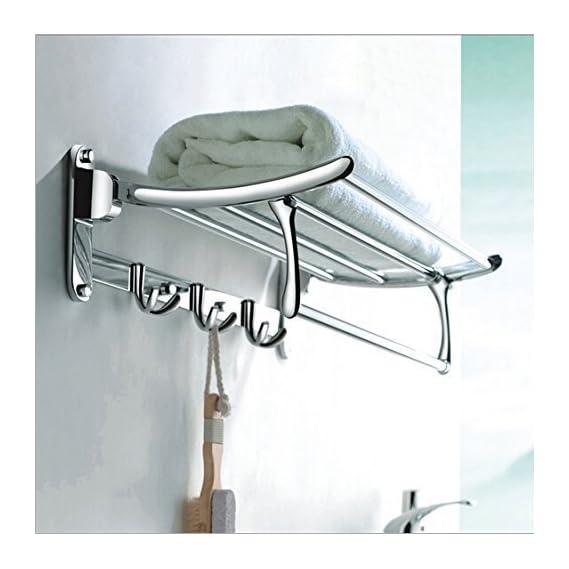 Antique High Grade Stainless Steel Folding Towel Rack, (2 Feet Long)