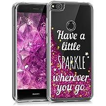 kwmobile Funda para Huawei P8 Lite (2017) - Case para móvil de TPU silicona - Cover trasero en plata rosa fucsia transparente