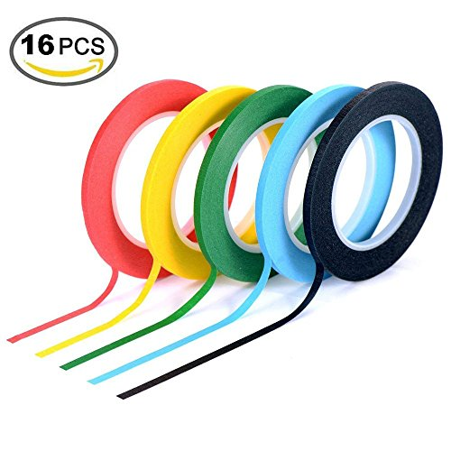 Amaza 16 Rolls 3mm x 33m Colorato Nastro Etichette Adesive Decorativo Nastri di Carta Adesivi Masking Tape arcobaleno (Colorato)