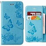 Coque Sony Xperia XZ Premium (G8141, G8142) Etui, Ougger Veines Papillons Portefeuille Housse PU Cuir Magnétique Stand léger Soft Silicone Protecteur Flip Pochette Bumper Caoutchouc Cover avec Fente pour Carte (Bleu)