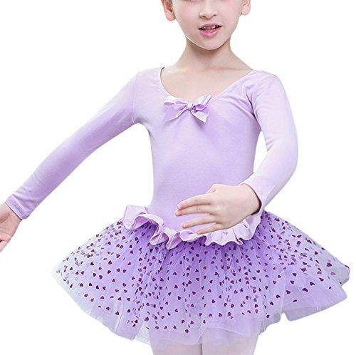 Wie Ballett-tutu Man (Feoya Mädchen Balletttrikot Ballettkleid Langarm Ballettanzug Gymnastikanzug Ballettröckchen Tanzleotard-Lila)
