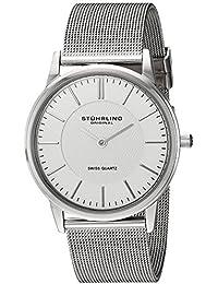 Stuhrling Original 238.32112 - Reloj analógico de cuarzo para hombre con correa de acero inoxidable, color plateado