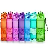 Sport Trinkflasche 400ml/500ml/700ml/1L BPA frei Kunststoff Wasserflasche, Auslaufsicher -Geeignet Sporttrinkflaschen für Laufen, Yoga, Fahrrad, Kinder Schule, One Handed Open Trinkflaschen mit Filter