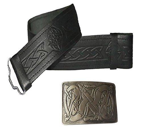 Leather Kilt Belt Embossed and Antique Celtic Buckle - 2 piece Set