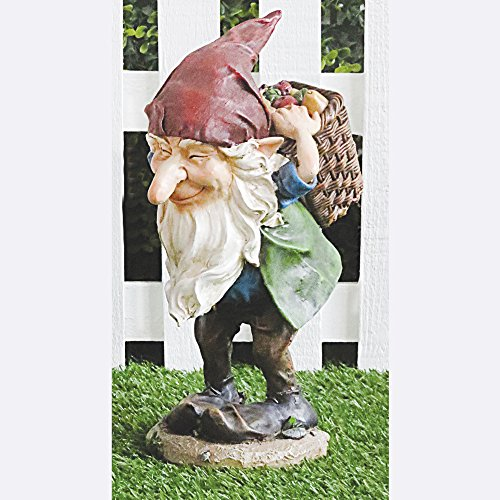 FHFY Garden Leo el gnomo con cesta, jardín, estatua de hadas a