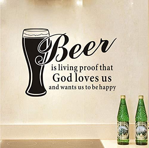 Bier ist der lebende Beweis, dass Gott uns liebt und möchte, dass wir glücklich sind Küche Abnehmbare Vinyl Wandaufkleber Diy Wohnkultur Wasserdicht 59 * 43 cm