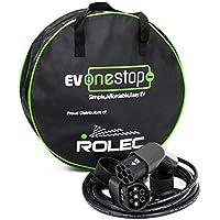 EV - Cable de Carga para vehículo eléctrico/Tipo 2 a Tipo 2 | 16 A (3,6 kW) | 5 Metros | Funda de Transporte | BMW, Merc, Leaf 2018, Tesla |
