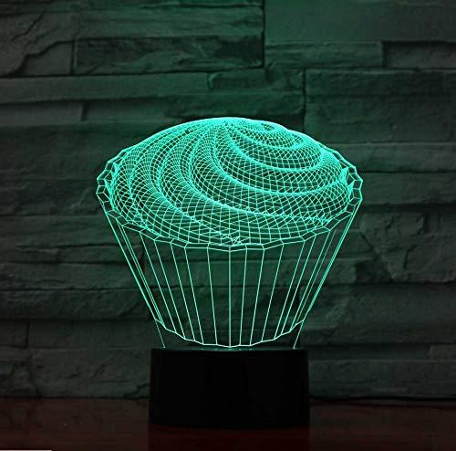 7 Bunte Baby Schlafzimmer Schlaf Dekor 3D Führte Die Spirale Kuchen Tischlampe Kinder Spielzeug Geschenke Nachtlichter Nachttisch Dessert Leuchten (Für Kinder Einfache Spaß, Halloween-desserts)