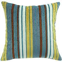 Cuscino con motivo a righe, ChezMax con cerniera coperta di ciniglia cuscino custodia Sham Pillowslip Federa quadrata decorativa, Blue, 16*16''WITHOUT FILLER