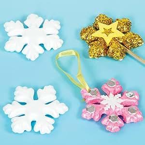 Fiocchi di Neve in Polistirolo per Bambini, da Colorare Decorare e Appendere all'Albero di Natale (confezione da 10)