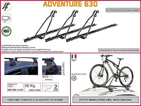 Porte-vélo de toit Ford Focus SW à partir de 20115portes en acier en kit de 3pièces y compris barres de toit de toit