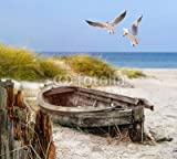 Leinwand-Bild 60 x 50 cm: altes Fischerboot, Möwen, Strand und Meer, Bild auf Leinwand