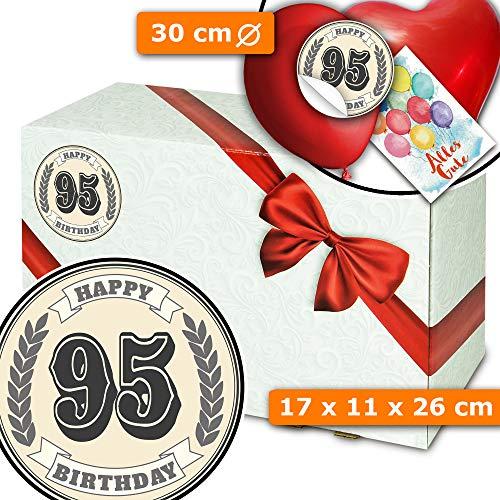 Geburtstag Geschenk 95 + Geschenkbox mit Schleife + Geburtstags Geschenke 95