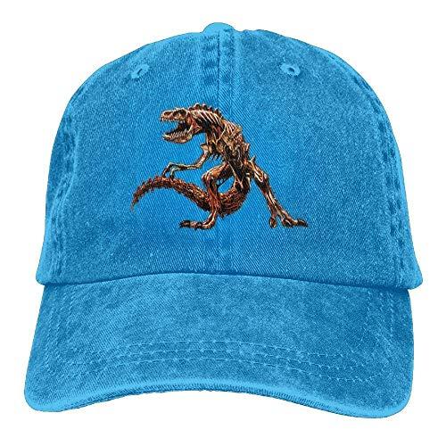 Hoswee Unisex Kappe/Baseballkappe, Scary Zombie Dinosaur Denim Hat Adjustable Plain Baseball Hats
