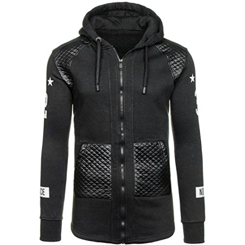 Jacke herren Herbst Winter Tasche Leder Warme Kapuzenpulli Mantel Outwear Pullover By Dragon (Schwarz, M) (Baumwoll-henley Lauren)
