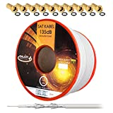 135dB 50m Koaxial SAT Kabel Reines KU Kupfer Koax Kabel Antennenkabel 5-fach geschirmt für DVB-S/S2 DVB-C und DVB-T BK Anlagen + 10 vergoldete F-Stecker mit Gummiring SET Gratis dazu von HB Digital