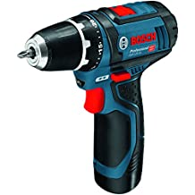 Bosch GSR 12V-15 Professional - Taladro (ión de litio, 12 V, 2.0 Ah, 169 mm, 178 mm, 950 g), negro y azul