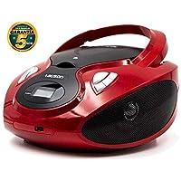 Lauson Radio y Reproductor de CD Portátil con Bluetooth y USB   Radio Am/FM   USB y Mp3   CD Player con Salida para Auriculares 3.5mm   CP639 (Rojo)
