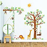 Decowall DM-1401P1402 8 Little Monkeys Tree and Height Chart Kids Wall Stickers Wall Decals Peel and Stick Removable Wall Stickers for Kids Nursery Bedroom Living Room