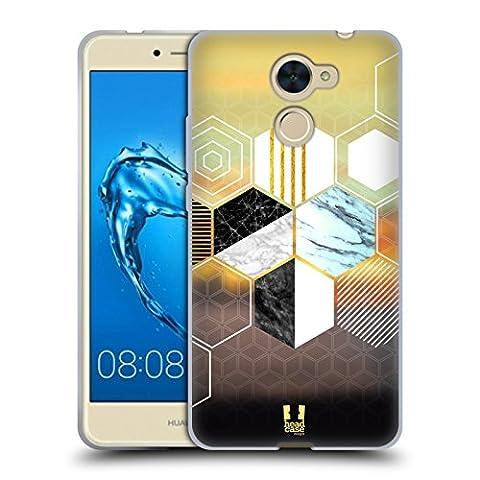 Head Case Designs Hexagon Geometrische Formen Marbel Soft Gel Hülle für Huawei Y7 Prime / Enjoy 7 Plus