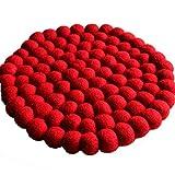 Maharanis Filz Topf Untersetzer rot 22 cm handgefertigt aus reiner Wolle, hitzebeständig