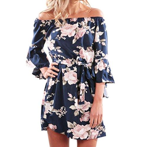 Günstige Blumen-mädchen-kleider (Elecenty Damen V-Ausschnitt Strandkleid Irregulär Sommerkleid Rock Mädchen Blumen Drucken Abendkleider Kleider Frauen Mode Ärmellos Kleid Minikleid Knielang Kleidung (XL, Blau))
