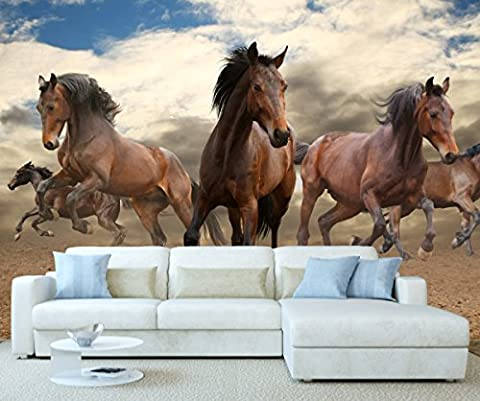 StickersWall Wild Horses Wildlife Animal Nature Wall Mural Photo Wallpaper Picture Self Adhesive 1113 ( 342cm(W) x 242cm(H))