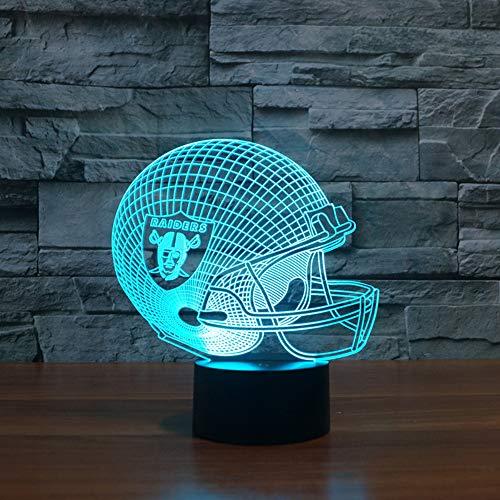 3D Nachtlampe Geschenk Möbel 3D Led Oakland Raiders Football Cap Helm Fußball Modell Helm Ootball Club Lampe Usb Led Beleuchtung Tisch Dekor Nachttischlampe (Pilot Rot Lampe)