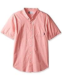 LRG Men's Square up Short Sleeve Woven Shirt