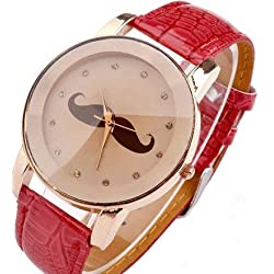 Mustache on a Beige Face with Red PU Leather Strap Ladies Watch