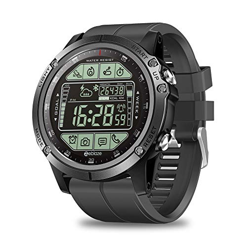 KINJOHI 2019 Upgrade Zeblaze Vibe 3S Herren Outdoor Smart Watch 50M Wasserdicht 5ATM Smartwatch Echtzeit Wetter Fitness Tracker (Black)