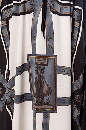 Luftiges Sommerkleid mit V-Ausschnitt vorn und hinten Bändermuster Grau