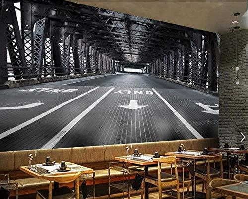 Mbwlkj Tapete Für Wände 3D Persönlichkeit Premium Silk Wallpaper Wandbild 3D Space Extension Iron Bridge Decoration-350cmx245cm
