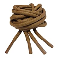 Big Laces Round Waxed Bootlaces - Various Colours (3mm x 100cm, Light Brown)