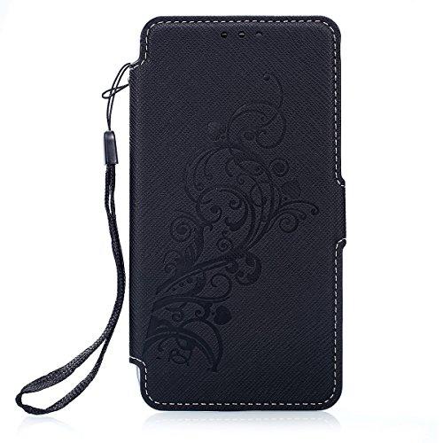 Kompatibel mit Galaxy S7 Edge Hülle Ledercase Handyhülle Hülle Tasche Wallet Bookstyle Flipcase Folio Handytasche Kartensätze Magnetisch Ständer Rückschale Handycover,Schwarz