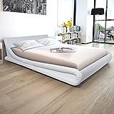 Festnight Cadre de lit en Cuir synthétique 160 x 200 cm Blanc