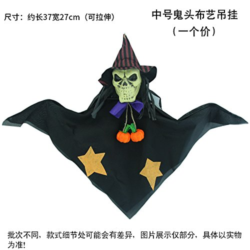 SunBai Halloween Dekoration Requisiten Halloween Girlanden Hexe Kürbis und Harz Stroh Kran hängenden Puppen, ghost Kopf hängenden Stoffen