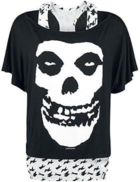 Misfits Skull Camiseta Mujer negro-blanco