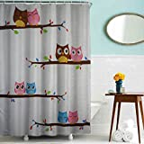 Ahorn & Home Custom Eule in Love Wasserdicht Duschvorhang, 180 x 180 cm wasserdicht Bad Vorhang Stoff Polyester Duschvorhang mit 12 Kunststoff Haken Cartoon Eule Duschvorhang 180,3 x 180,3 cm