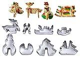 FantasyDay 8 pezzi acciaio inox Formine Biscotti/Stampi biscotti, Tema natalizio 3d Taglierine di biscotti per Decorazioni Natalizie - Professionale Teglie da forno e accessori per pasticceria #1