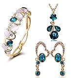 YouBella Crystal Combo of Pendant Necklace Set, Bangle Bracelet & Earrings for Women