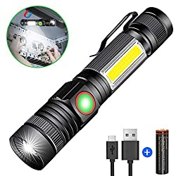 Flashlight LED Magnet USB Rechargeable, Karrong Zoom Flashlights 4 modes for outdoor camping