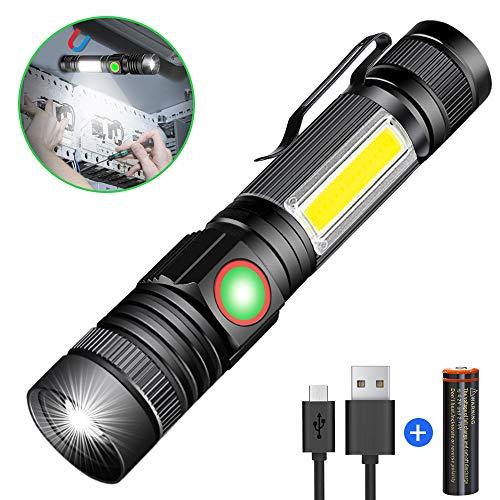 Taschenlampe LED USB Aufladbar, Magnet Zoombare COB Arbeitsleuchte, Karrong Taktische Taschenlampen (Mit 18650 Akku) Super Hell Wasserdicht 4 Modi für Outdoor Camping Wandern Notfall