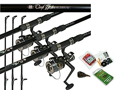 Hunter Carp Fishing Combo 2.75tc Rod & Bait Runner Reel + Line Bait,Hooks, X 3 from REDWOOD TACKLE